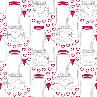 Süße gläser muster. nahtloser hintergrund der valentinsgrüße mit süßen inneren. vektor-liebestagesdekoration.
