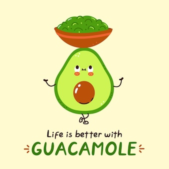 Süße glückliche avocado halten guacamole-sauce-schüssel-charakter