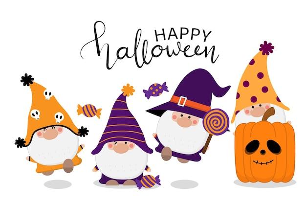 Süße gnome in halloween-kostüm-süßigkeitskatze und nahtlosem muster des orange kürbises