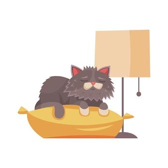 Süße graue katze der karikatur, die auf kissen schläft