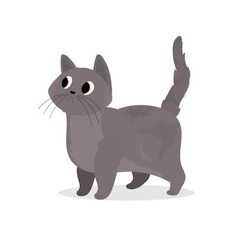 Süße graue katze. geeignet für aufkleber und postkarten. isoliert. vektor.