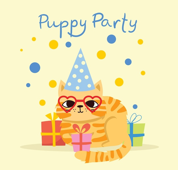 Süße grußkarte der kitty-partei mit geschenken und welpenhund und -katzen im flachen stil