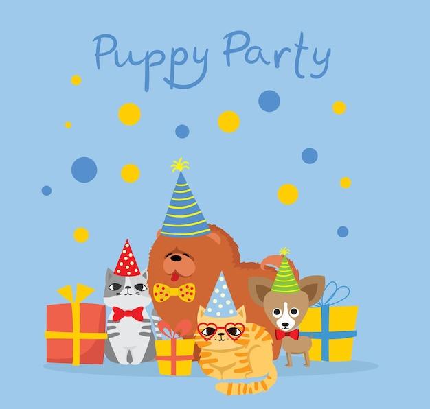 Süße grußkarte der welpenparty mit geschenken und welpenhund und -katzen im flachen stil