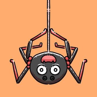 Süße hängende spinne im cartoon-stil