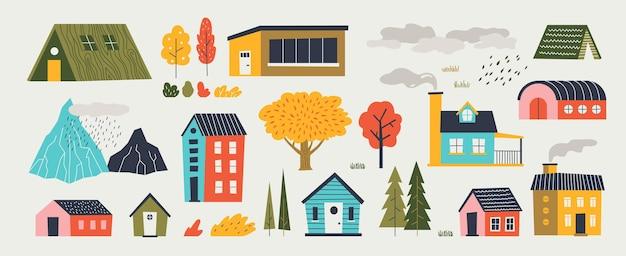Süße häuser. trendige ländliche hand gezeichnete landschaft mit gebäuden bäume berge und wolken. flache designlandschaft des vektorpapierschnitts mit isolierten elementarchitektur- und naturikonen