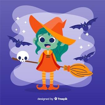 Süße halloween hexe mit besen