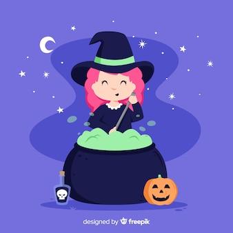 Süße halloween-hexe mit einem topf