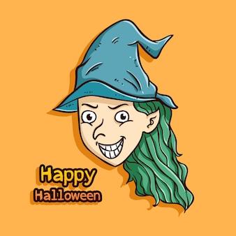 Süße halloween-hexe mit farbigen doodle-stil auf orangefarbenen hintergrund