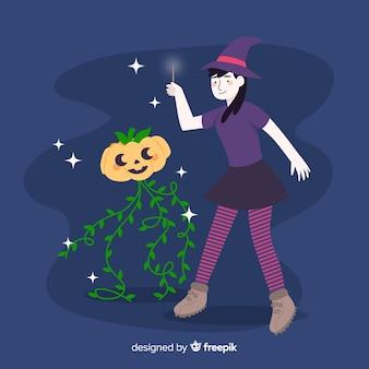 Süße halloween hexe und kürbis
