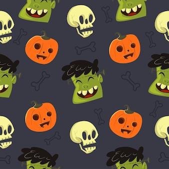 Süße halloween nahtlose muster frankenstein köpfe schädel und kürbisse