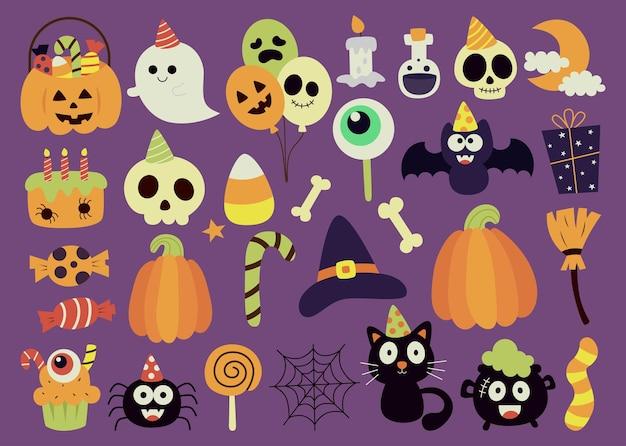 Süße halloween-party auf lila hintergrund