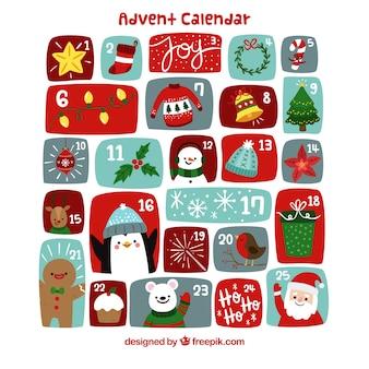 Süße hand gezeichneten adventskalender mit weihnachten zeichen und dekorationen