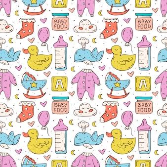 Süße handgezeichnete doodledesign-elemente der babypflege.