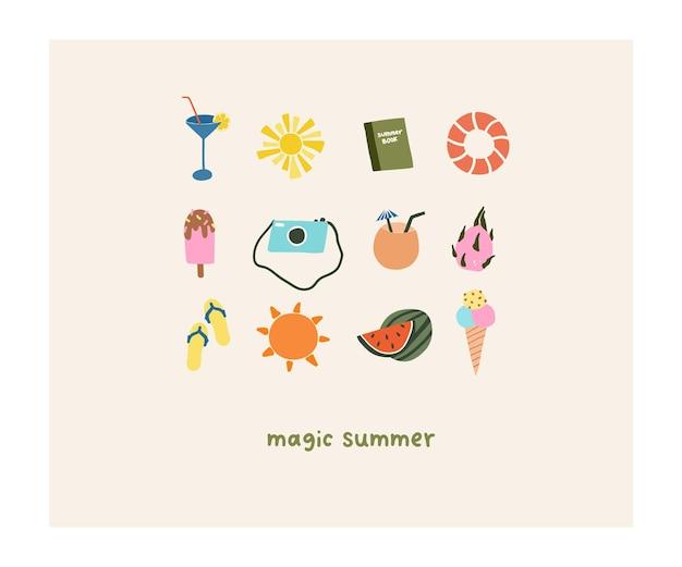 Süße handgezeichnete kleine sommerferien symbole fotokamera, buch, schiefer, rettungsring, cocktails, eis. sommerikonenvektorillustration in der flachen hand gezeichneten gekritzelart