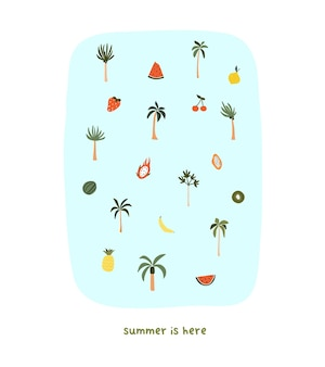 Süße handgezeichnete kleine sommerpalmen und früchte wassermelone drachenfrucht papaya