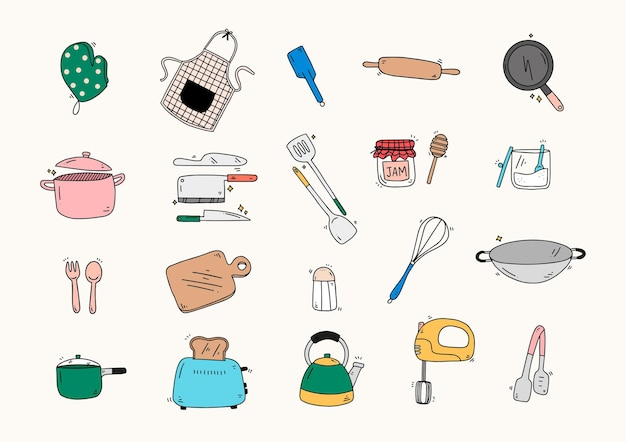 Süße handgezeichnete küchenwerkzeuge und ausrüstungssammlung