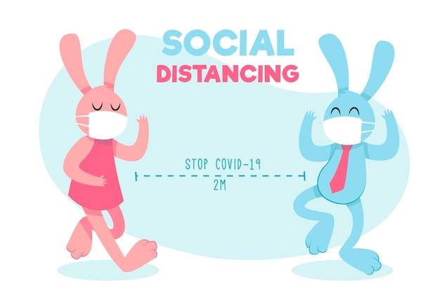 Süße hasen, die soziale distanzierung üben