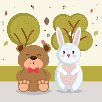 Süße hasen und bären tierfiguren