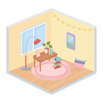 Süße hauptbücher rahmen topfpflanze auf tisch, teppichkissenlampe und fensterraum isometrischen stil ein