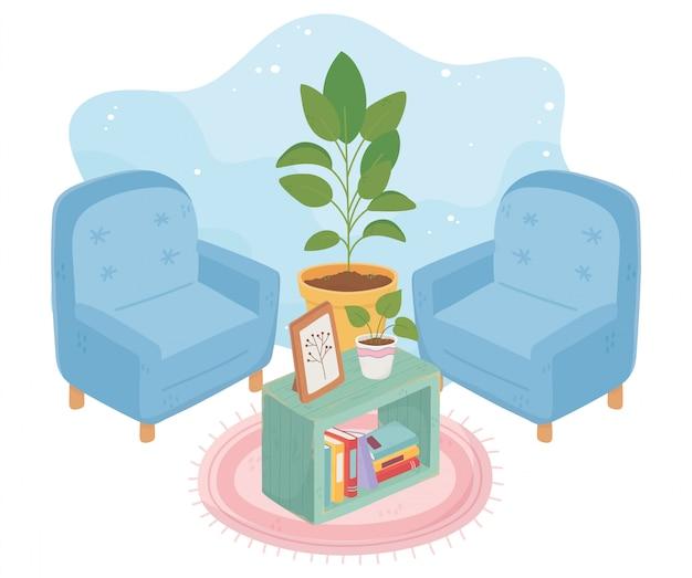 Süße haussessel topfpflanze bilderrahmen bücher und teppich