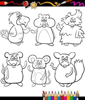 Süße haustiere cartoon malbuch