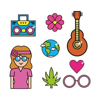 Süße hippie-frau mit wichtigen werkzeugen