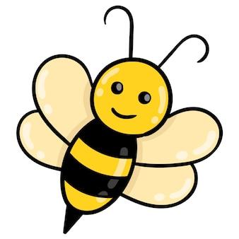 Süße honigbiene greift stachel an, vektorillustrationskarton-emoticon. gekritzelsymbol-zeichnung