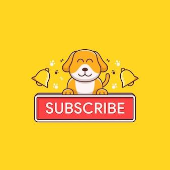 Süße hundeillustration mit abonnieren-button