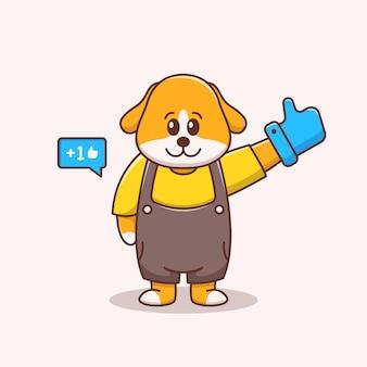 Süße hundeillustration mit großen handschuhen