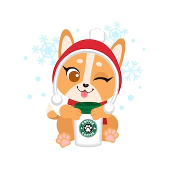 Süße hundepose mit einer tasse heißem kaffee, während sie eine wintermütze trägt