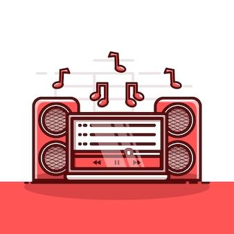 Süße illustration, die musik auf laptop streamt