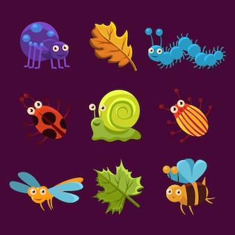 Süße insekten und blätter mit emotionen. vektor-illustration