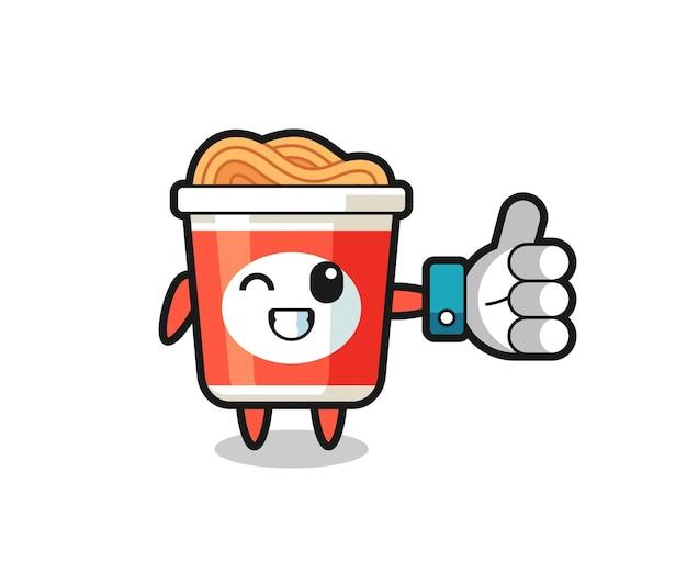 Süße instant-nudeln mit social-media-daumen-hoch-symbol, süßes design für t-shirt, aufkleber, logo-element