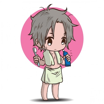 Süße junge dusche zeichentrickfigur