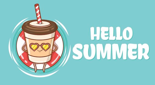 Süße kaffeetasse schwimmend entspannen sie sich mit einem sommergrußbanner
