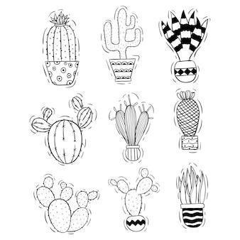 Süße kaktussammlung mit gekritzel- oder skizzenstil
