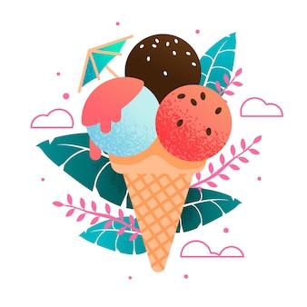 Süße kalte frische eistüte-karikatur auf exotischen blättern