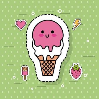 Süße kalte nette karikatur der kawaii eiscreme