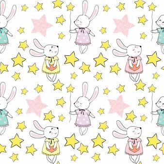 Süße kaninchen mit sternen