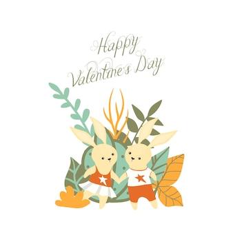 Süße kaninchen - valentinstag
