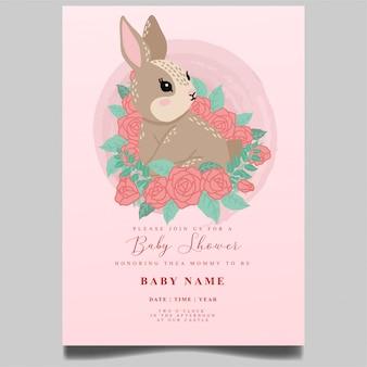 Süße kaninchenbabypartyeinladung neugeborene bearbeitbare vorlage