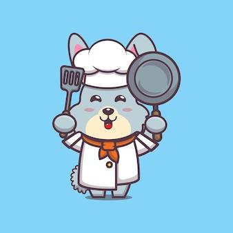 Süße kaninchenchef charakterillustration