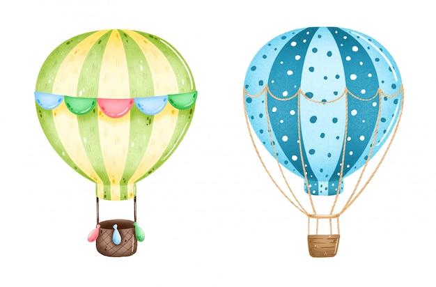 Süße karikatur bunte heißluftballons, die auf einem weißen hintergrund eingestellt werden