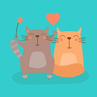 Süße karikatur-katze in der liebes-vektor-illustration
