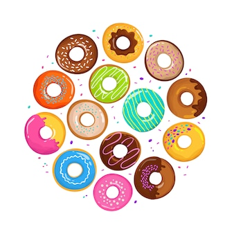 Süße karikaturschaumgummiringe im runden formvektor