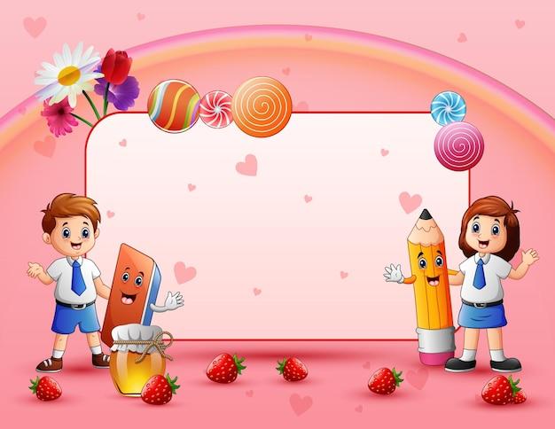 Süße karte mit glücklichen schulkindern