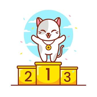 Süße katze auf dem podium mit goldmedaille
