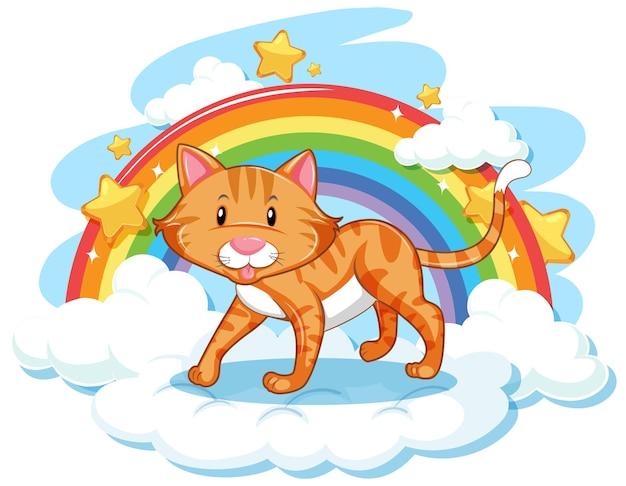 Süße katze auf der wolke mit regenbogen
