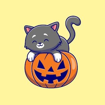 Süße katze, die auf kürbis halloween legt