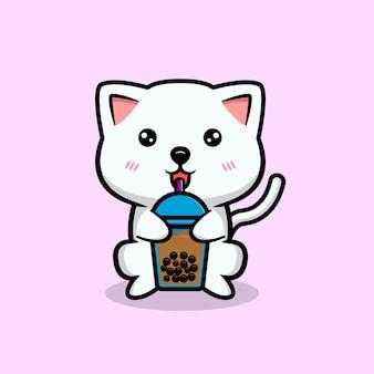 Süße katze, die boba-maskottchenillustration trinkt
